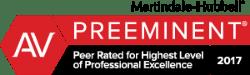 Badge - AV PREEMINENT Peer Rated for Highest Level of Professional Excellence 2017