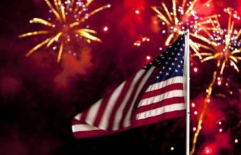 USA flag and fireworks