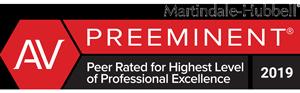 Badge - AV PREEMINENT Peer Rated for Highest Level of Professional Excellence 2019