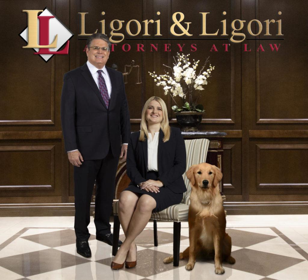 Keith Ligori with Meaghann Ligori and their dog
